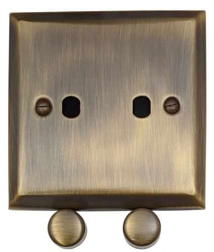G&H SAB12-PK Spectrum Plate Antique Bronze 2 Gang Dimmer Plate Only inc Dimmer Knobs